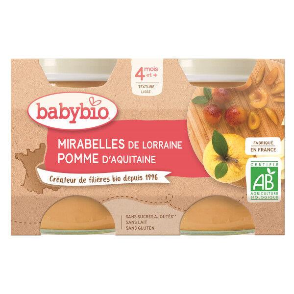 Babybio Mes Fruits Pomme Mirabelle dès 4 mois 2 x 130g