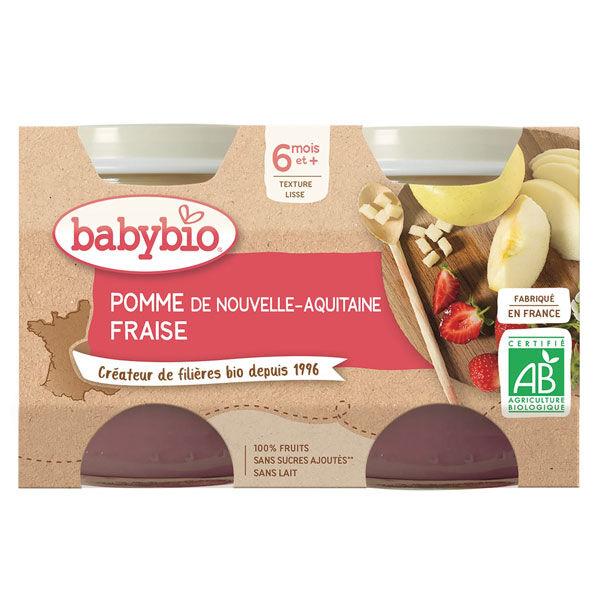 Babybio Fruits Pot Pomme Fraise +6m Bio 2 x 130g