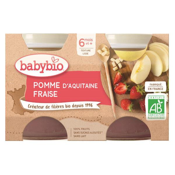 Babybio Mes Fruits Pots Pomme Fraise dès 6 mois 2 x 130g