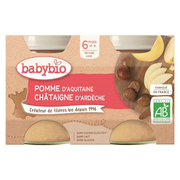 Babybio Fruits Pot Pomme Châtaigne +6m Bio 2 x 130g