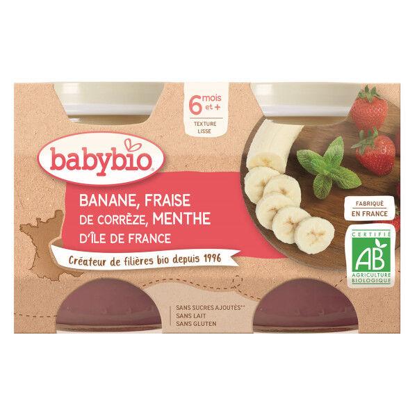 Babybio Fruits Pot Banane Fraise Menthe +6m Bio 2 x 130g