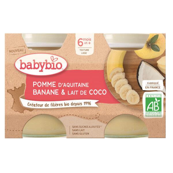 Babybio Mes Fruits Pots Pomme Banane Lait de Coco dès 6 mois 2 x 130g