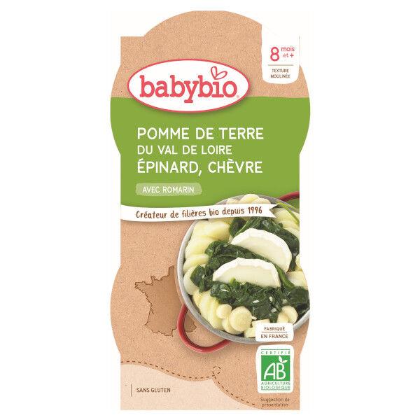 Babybio Légumes Bol Trio Pomme de Terre Epinard Chèvre +8m Bio 2 x 200g
