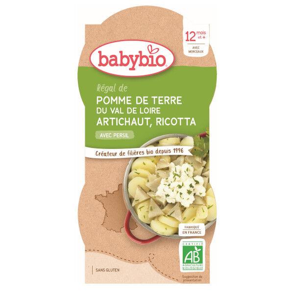 Babybio Mes Légumes Bol Régal Pomme de Terre Artichaut Ricotta +12m Bio 2 x 200g