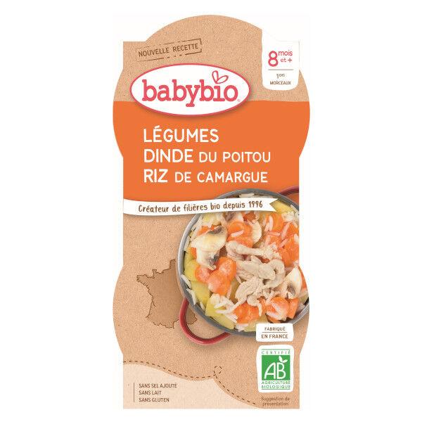 Babybio Repas Midi Bol Mijoté Légumes Dinde Riz +8m Bio 2 x 200g