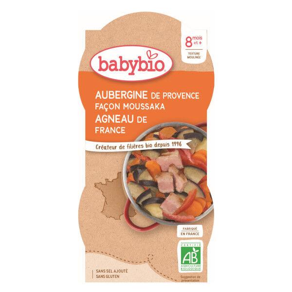 Babybio Repas Midi Bol Aubergines Façon Moussaka Agneau +8m Bio 2 x 200g