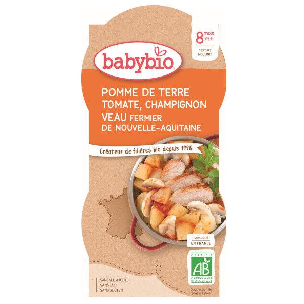 Babybio Repas Midi Bol Pomme de Terre Tomate Champignon Veau +8m Bio 2 x 200g