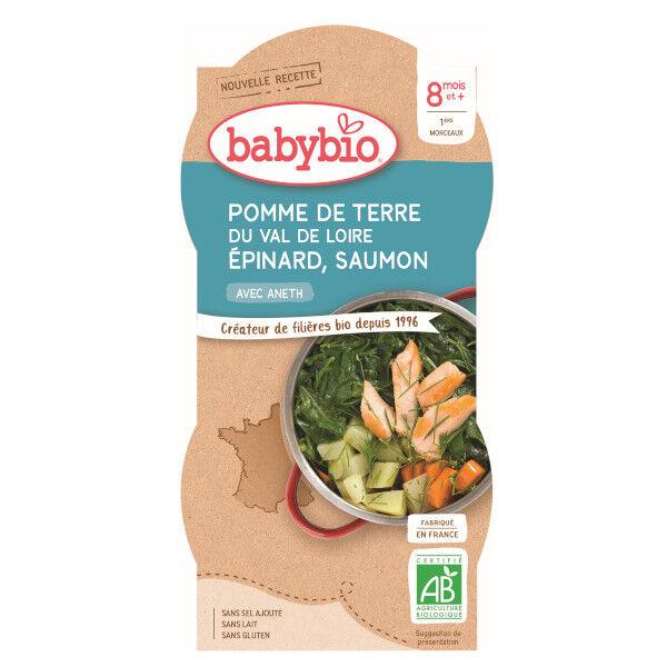 Babybio Repas Midi Bol Pomme de Terre Epinard Saumon Aneth +8m Bio 2 x 200g