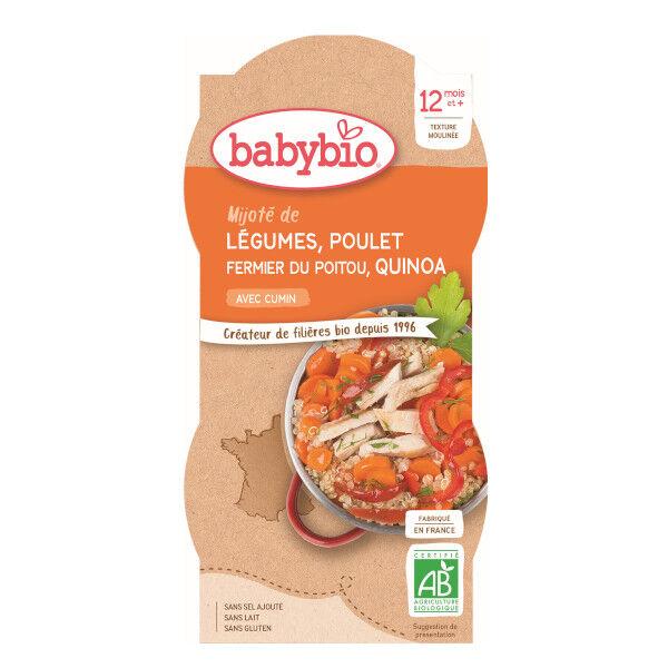 Babybio Menu du Jour Bol Mijoté de Légumes Poulet Quinoa dès 12 mois 2 x 200g