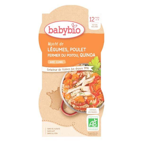 Babybio Repas Midi Bol Mijoté de Légumes Poulet Quinoa +12m Bio 2 x 200g