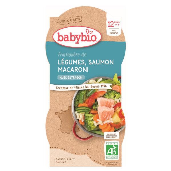 Babybio Menu du Jour Bol Printanière de Légumes Saumon Macaroni dès 12 mois 2 x 200g