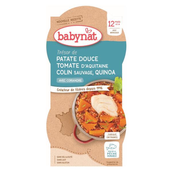 Babybio Menu du Jour Bol Patate Douce Tomate Colin Sauvage Quinoa dès 12 mois 2 x 200g