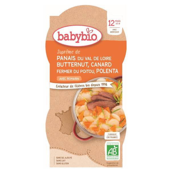 Babybio Repas Midi Bol Panais Courge Butternut Canard Polenta +12m Bio 2 x 200g