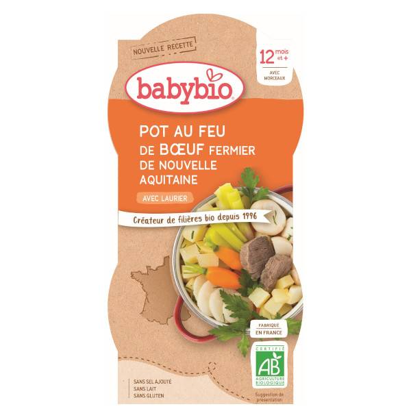 Babybio Repas Midi Bol Pot au Feu Boeuf +12m Bio 2 x 200g