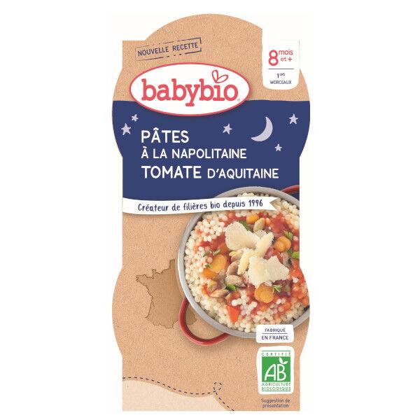 Babybio Repas Soir Bol Pâtes Napolitaine +8m Bio 2 x 200g