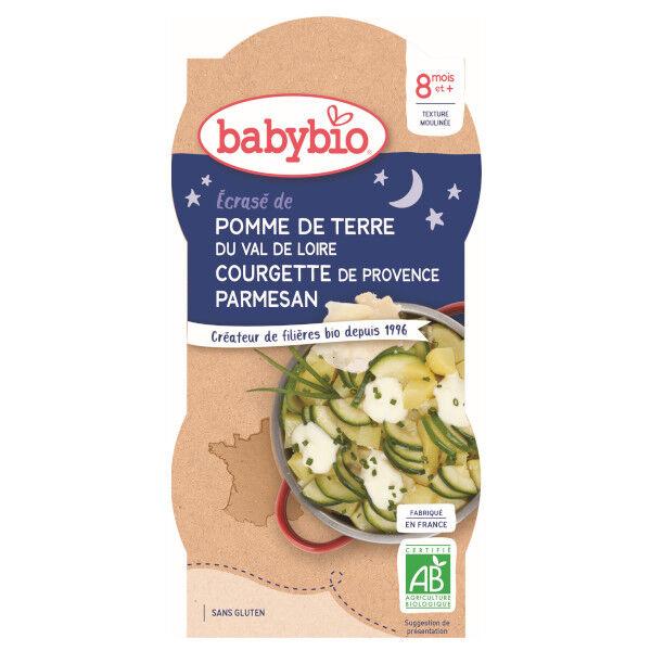 Babybio Repas Soir Bol Ecrasé Pomme de Terre Courgette +8m Bio 2 x 200g