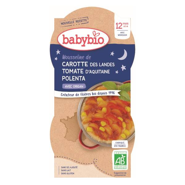 Babybio Bonne Nuit Bol Carotte Tomate Polenta +12m Bio 2 x 200g