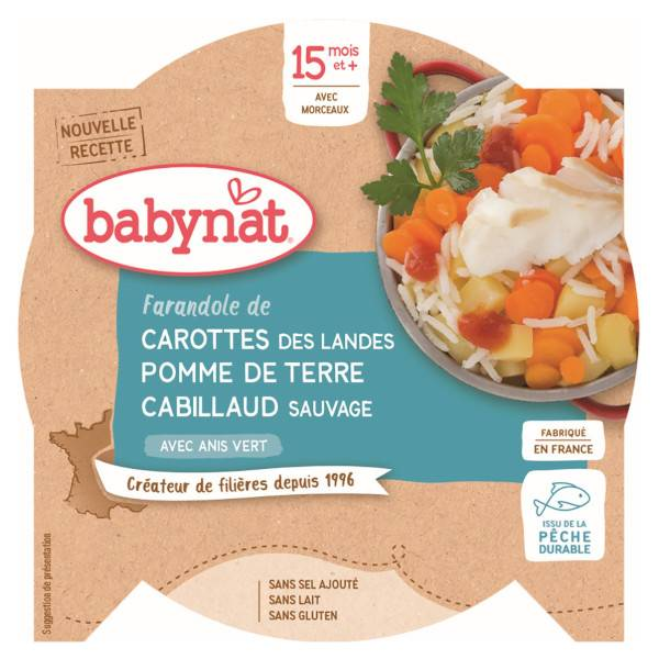 Babybio Repas Midi Assiette Carotte Pomme de Terre Cabillaud Sauvage +15m Bio 260g