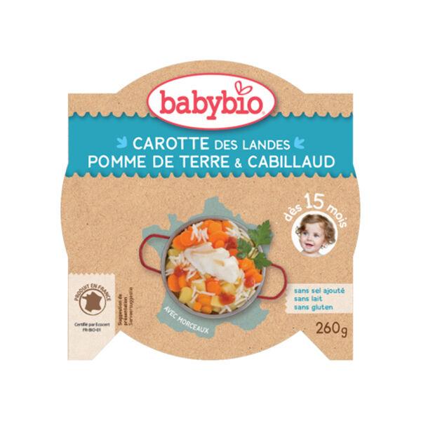 Babybio Menu du Jour Assiette Carotte Pomme de Terre Cabillaud Sauvage dès 15 mois 260g