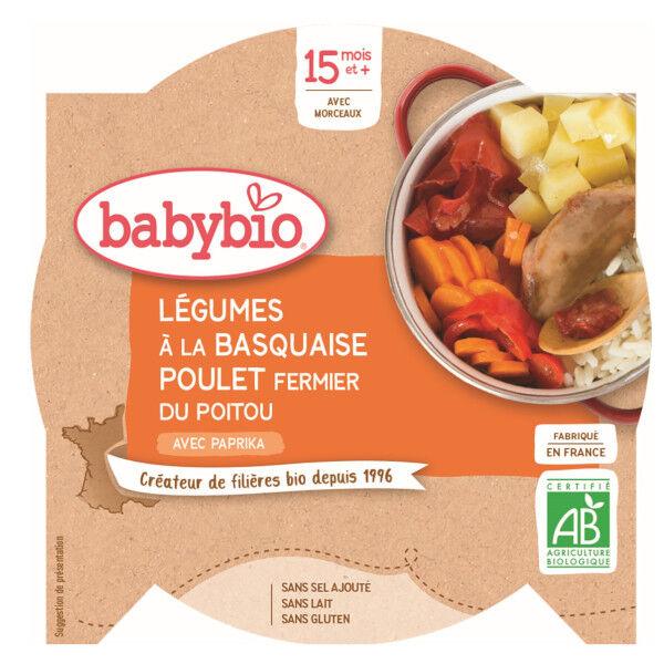 Babybio Repas Midi Assiette Légumes à la Basquaise Poulet Riz +15m Bio 260g