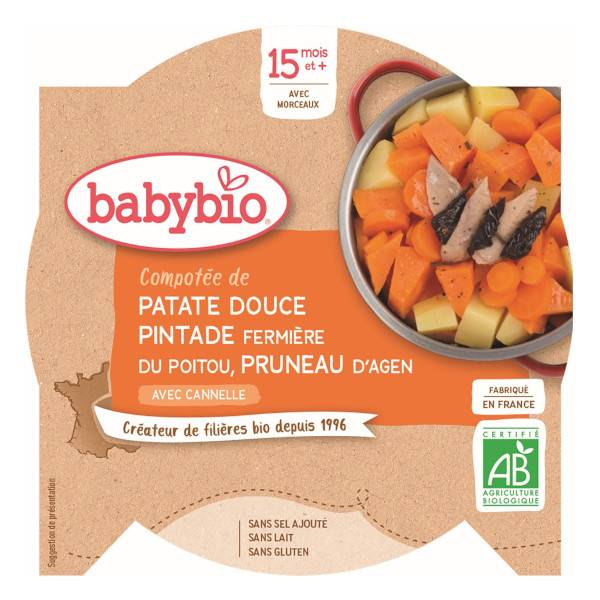 Babybio Menu du Jour Assiette Compotée Patate Douce Pintade Pruneau +15m Bio 260g