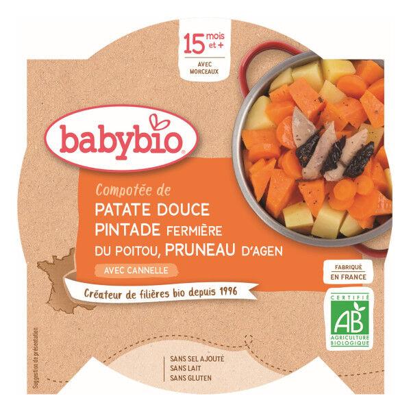 Babybio Repas Midi Assiette Compotée Patate Douce Pintade Pruneau +15m Bio 260g