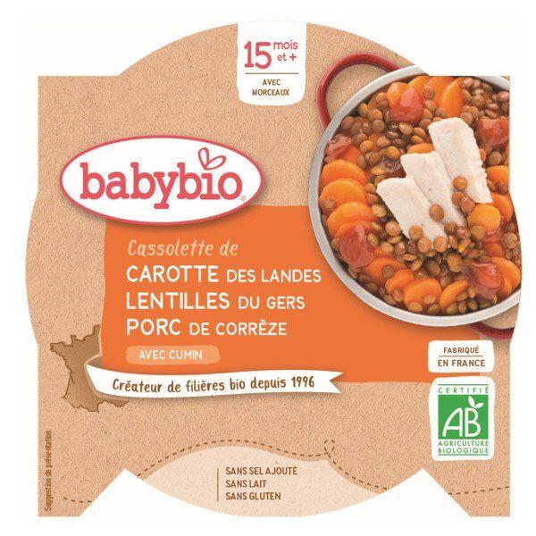 Babybio Repas Midi Assiette Carotte Lentilles Porc +15m Bio 260g