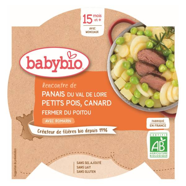 Babybio Repas Midi Assiette Panais Petits Pois Canard +15m Bio 260g