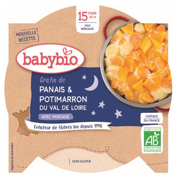 Babybio Repas Soir Assiette Gratin Panais Potimarron +15m Bio 260g