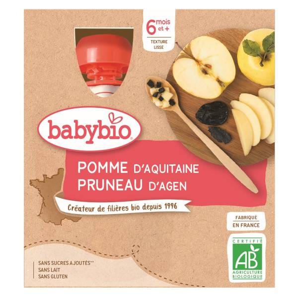 Babybio Fruits Gourde Pomme Pruneau +6m Bio 4 x 90g