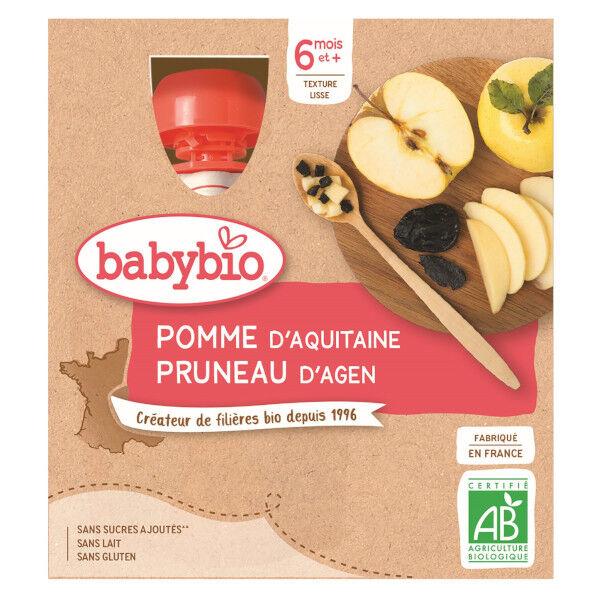 Babybio Mes Fruits Gourdes Pomme Pruneau dès 6 mois Lot de 4 x 90g