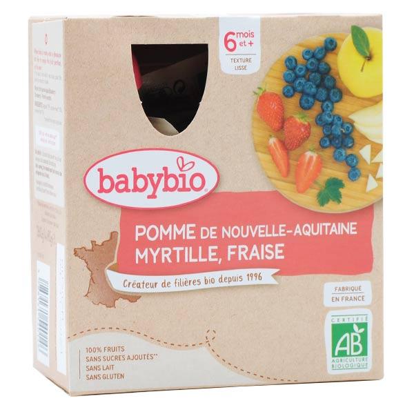 Babybio Mes Fruits Gourde Pomme Myrtille Fraise +6m Bio 4 x 90g