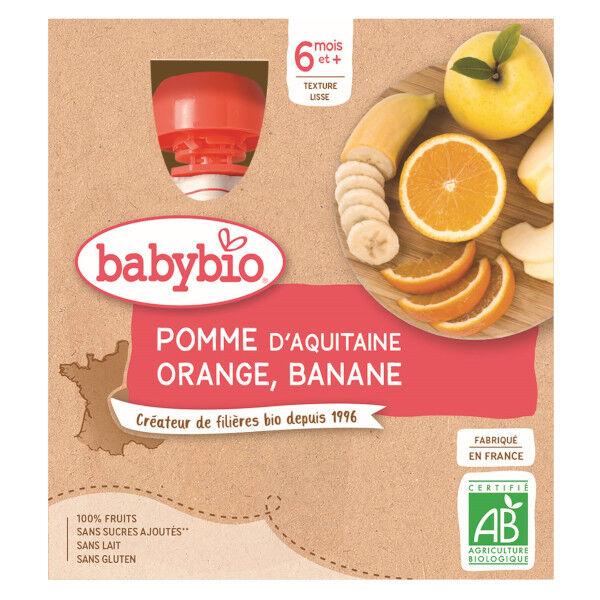 Babybio Mes Fruits Gourde Pomme Orange Banane +6m Bio 4 x 90g
