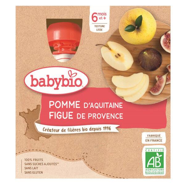 Babybio Fruits Gourde Pomme Figue +6m Bio 4 x 90g