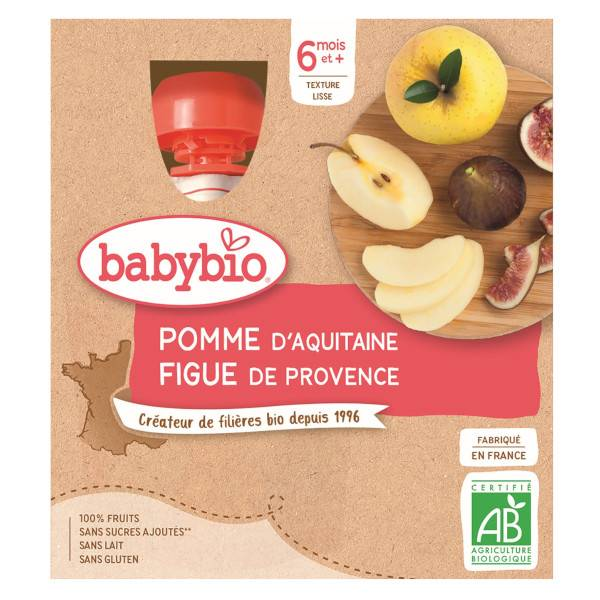 Babybio Mes Fruits Gourde Pomme Figue +6m Bio 4 x 90g
