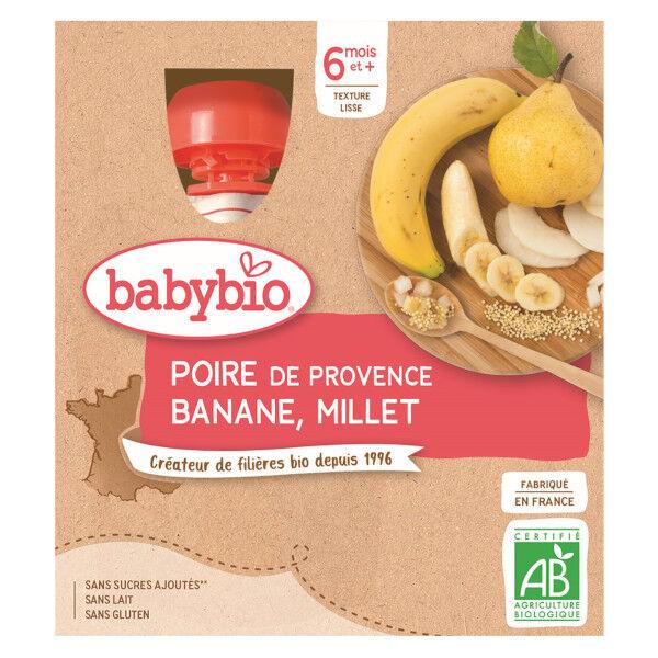 Babybio Mes Fruits Gourde Poire Banane Millet +6m Bio 4 x 90g