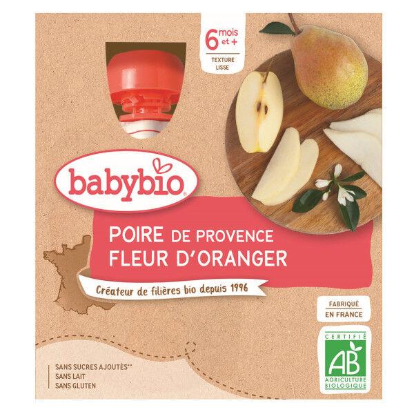 Babybio Mes Fruits Gourdes Poire Fleur d'Oranger dès 6 mois 4 x 90g