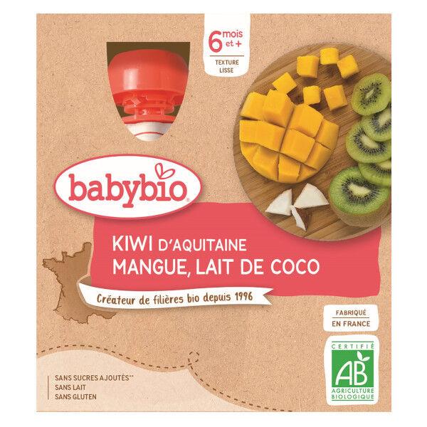 Babybio Mes Fruits Gourde Kiwi Mangue Lait de Coco +6m Bio 4 x 90g