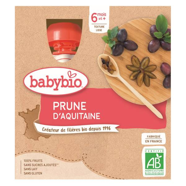 Babybio Mes Fruits Gourdes Prune d'Aquitaine dès 6 mois 4 x 90g