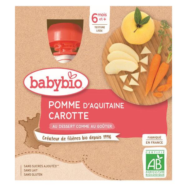 Babybio Mes Fruits Gourdes Pomme Carotte dès 6 mois 4 x 90g