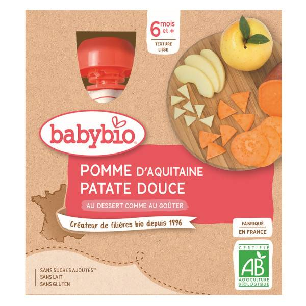 Babybio Mes Fruits Gourde Pomme Patate Douce +6m Bio 4 x 90g