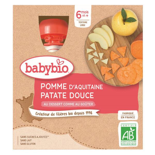 Babybio Mes Fruits Gourdes Pomme Patate Douce dès 6 mois 4 x 90g
