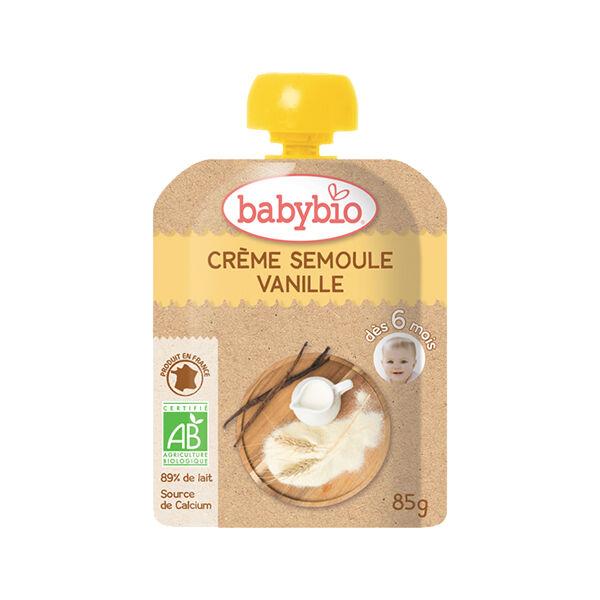 Babybio Desserts Lactés Gourde Crème Semoule Vanille +6m Bio 85g