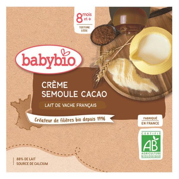 Babybio Desserts Lactés Gourde Crème Semoule Cacao +8m Bio 4 x 85g