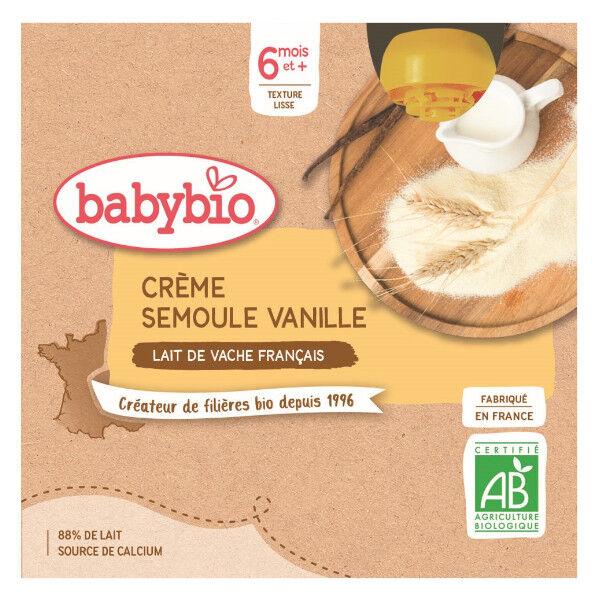 Babybio Desserts Lactés Gourde Crème Semoule Vanille +6m Bio 4 x 85g