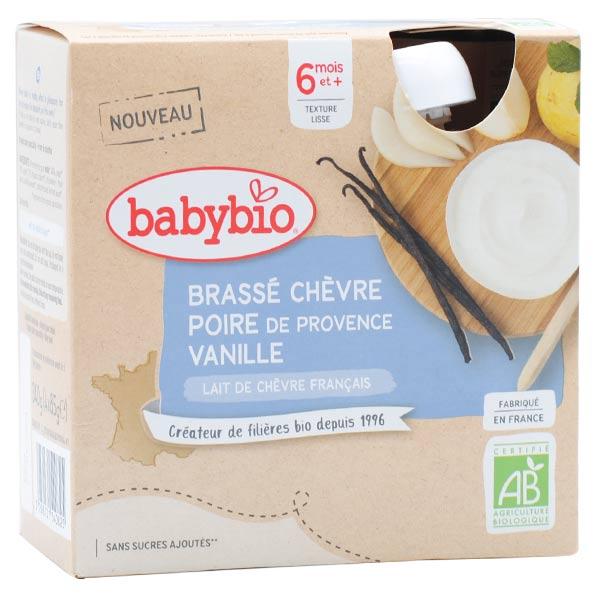 Babybio Desserts Lactés Gourde Brassé Lait de Chèvre Poire Vanille +6m Bio 4 x 85g