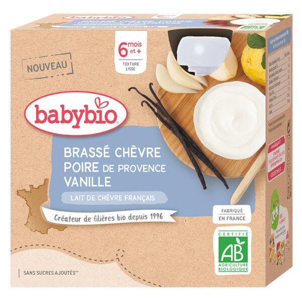 Babybio Gourdes Lactées Mes Brassés Lait de Chèvre Poire Vanille dès 6 mois 4 x 85g