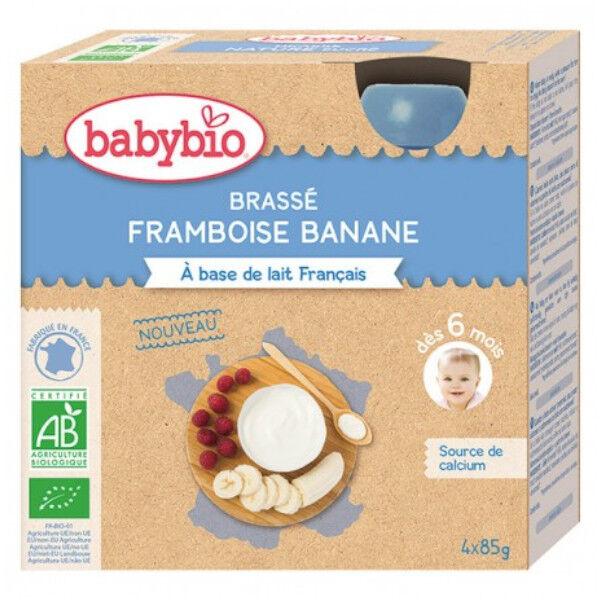 Babybio Gourdes Lactées Brassé au Lait de Chèvre Pomme d'Aquitaine Framboise dès 6 mois 4 x 85g
