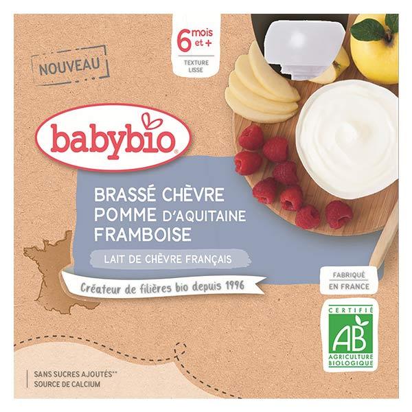 Babybio Desserts Lactés Gourde Brassé Lait de Chèvre Pomme d'Aquitaine Framboise +6m Bio 4 x 85g