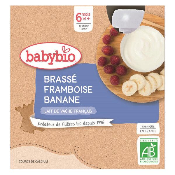 Babybio Mes Brassés Gourde Lactée Framboise Banane +6m Bio 4 x 85g